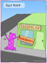 Cartoon: SILLY ALIEN (small) by fcartoons tagged silly,alien,bankrupt,store,shop,hammer,cartoon,comic,shoe