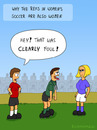 Cartoon: WOMENS SOCCER (small) by fcartoons tagged world cup women soccer foul blond girl ref referee schiri schiedsrichter frauen fussball wm