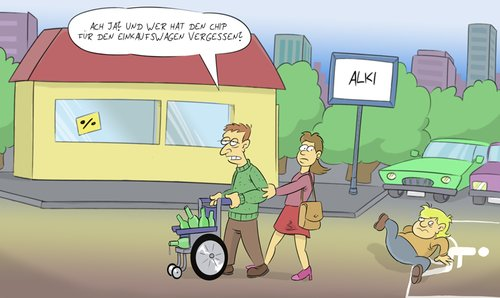 Cartoon: Einkaufswagen (medium) by Rob tagged wheelchair,rollstuhl,trolley,cart,mall,discounter,disabled,behindert,parkplatz,parking,lot,rob