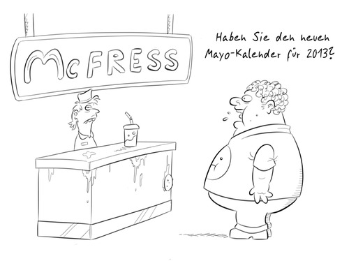 Cartoon: Kalender (medium) by Rob tagged calender,kalender,mayo,maya,burger,fat,fett,fast,food,restaurant,2012,2013