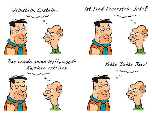 Cartoon: Kommentar Feuerstein (medium) by Rob tagged fred,flintstone,feuerstein,jeffrey,epstein,harvey,weinstein,einstein,silverstein,kommentar,commentary,kommentator
