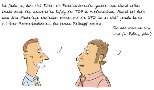 Cartoon: Politik (medium) by Rob tagged politik,politics,merkel,rösler,cdu,fdp,spd,kanzler,kandidat,business,heads,köpfe