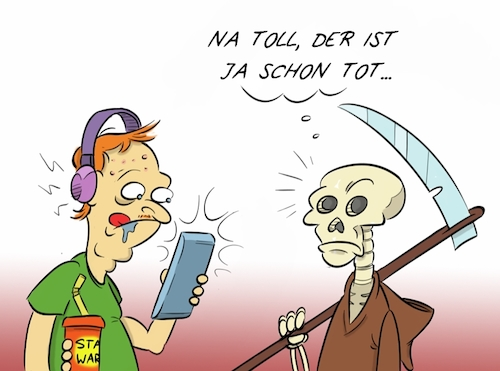 Cartoon: Umsonst (medium) by Rob tagged tot,tod,death,dead,skelett,skeleton,star,wars,handy,mobile,headphones,kopfhörer