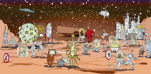 Cartoon: Nelly and Toulouse on Mars (medium) by ali tagged space,mars,nelly,toulouse,raumschiff,phaeno,weltall,adventure,abenteuer,aliens,raumanzug,science,fiction,dog,hund,ausserirdische,raumfahrt,space,mars,nelly,toulouse,raumschiff,phaeno,weltall,adventure,abenteuer,aliens,raumanzug,science,fiction,dog,hund,ausserirdische,raumfahrt