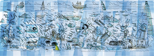Cartoon: UNDER THE SEA (medium) by ali tagged sea,five,water,fish,meer,tauchen,diving,sea,five,water,fish,meer,tauchen,diving