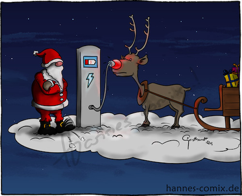 Cartoon: E-Rentier (medium) by Hannes tagged xmas,christmas,merrychristmas,santa,santaclaus,weihnachten,weihnachtsmann,rentier,rendeer,rudolphtherednosedreindeer,rudolph,ecar,elektroauto,electriccar,charger,tesla