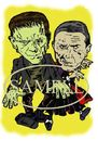 Cartoon: Karloff and Lugosi (small) by Marty Street tagged frankenstein,dracula
