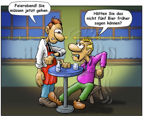 Cartoon: Umnebelter Abschied (medium) by Troganer tagged cartoon,kneipe,feierabend,kellner,gast,betrunken