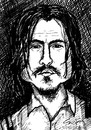 Cartoon: depp black and white (small) by sylvia tagged johnny depp caricature