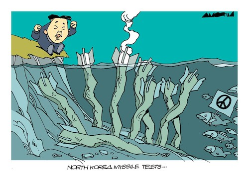 Cartoon: North Korea missile tests... (medium) by Amorim tagged north,korea,missile,test