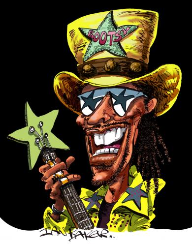 Cartoon: Bootsy Collins (medium) by Ian Baker tagged bootsy,collins,bass,player,funk,seventies,rock,music,caricature,parliament,funkadelic