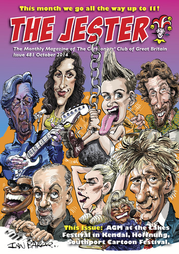 Cartoon: Jester Cover (medium) by Ian Baker tagged jester,cartoonists,club,of,great,britain,ian,baker,caricatures,artwork,music,rock,pop,blues,ginger,eric,clapton,alanis,morisette,rod,stewart,madonna