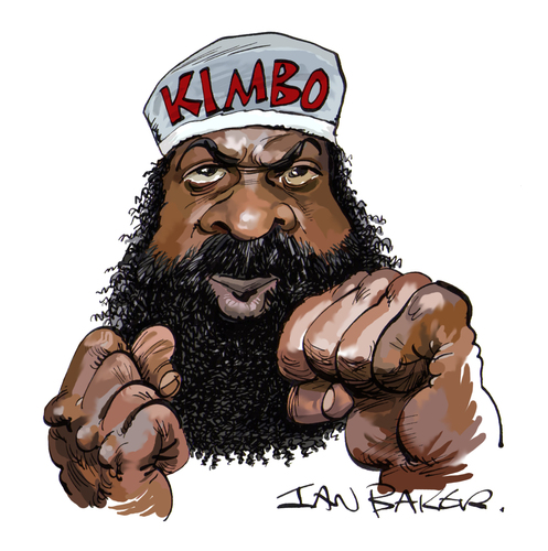 Cartoon: Kimbo Slice (medium) by Ian Baker tagged kimbo,slice,ian,baker,caricature,cartoon,kevin,ferguson,fight,fighter,boxer,tough,martial,arts,actor,celebrity,famous,street,fists