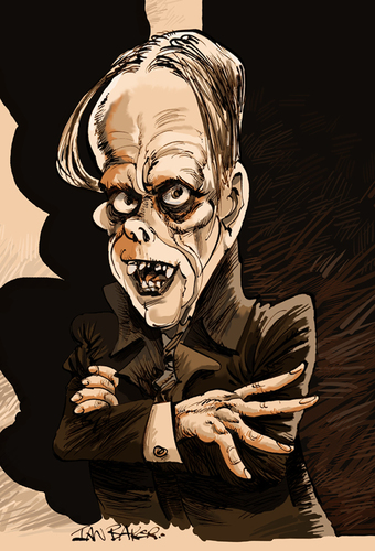 Cartoon: Lon Chaney (medium) by Ian Baker tagged lon,chaney,horror,phantom,of,the,opera,black,and,white,movies,caricature,makeup,disguise,creepy