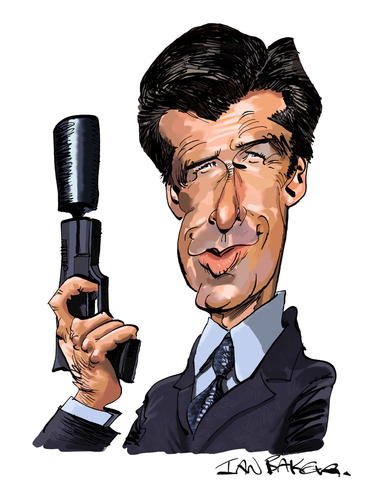 Cartoon: Pierce Brosnan (medium) by Ian Baker tagged pierce,brosnan,james,bond,007,spy,film,caricature,goldeneye