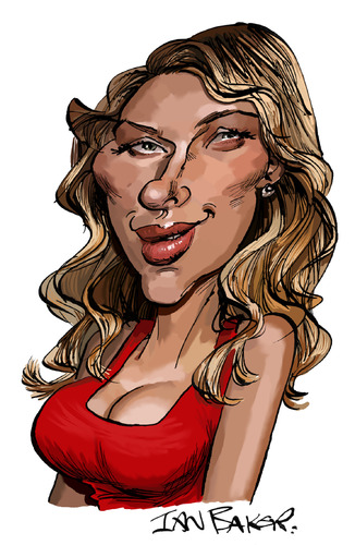 Cartoon: Scarlett Johansson (medium) by Ian Baker tagged scarlett,johansson,caricature,film,star,actress,celebrity,actor