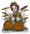 Cartoon: Ginger Baker (small) by Ian Baker tagged ginger,baker,peter,edward,cream,drums,drummer,caricature,sixties,psychadelic,rock,music,eric,clapton,jack,bruce,musician