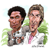 Cartoon: Miami Vice (small) by Ian Baker tagged miami,vice,caricature,don,johnson,philip,michael,thomas,eighties,80s,mann