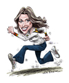Cartoon: The Bionic Woman (small) by Ian Baker tagged bionic,woman,six,million,dollar,man,seventies,tv,caricature,adventure,lindsay,wagner,action,sexy,70s,lee,majors