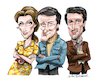 Cartoon: The Protectors (small) by Ian Baker tagged the,protectors,itc,seventies,spy,detective,drama,tv,television,celebrity,famous,ian,baker,cartoon,cartoonist,illustrator,robert,vaughn,nyree,dawn,porter,tony,anholt,caricature