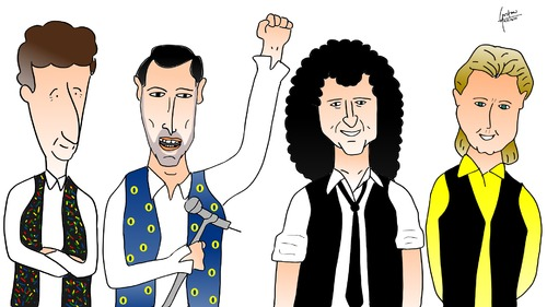 Cartoon: Queen (medium) by gustavomchagas tagged rock,english,band,taylor,roger,may,brian,deacon,john,mercury,freddie,queen
