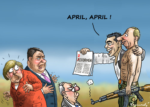 Cartoon: APRIL APRIL (medium) by marian kamensky tagged alexis,tsipras,griechenland,rettungsschirm,eu,griechowestern,april,alexis,tsipras,griechenland,rettungsschirm,eu,griechowestern