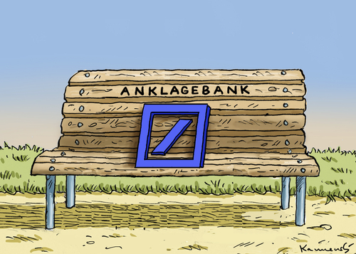 Cartoon: DEUTSCHE BANK (medium) by marian kamensky tagged deutsche,bank,anklagebank,leo,kirch,deutsche,bank,anklagebank,leo,kirch