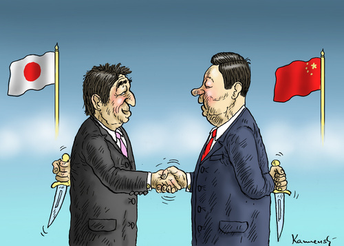 Cartoon: FREUNDLICHE BEGEGNUNG (medium) by marian kamensky tagged china,japan,meeting,china,japan,meeting
