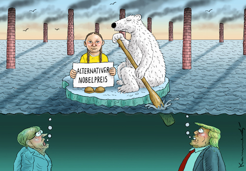 Cartoon: GRETA THUNBERG HAT DEN PREIS (medium) by marian kamensky tagged klimaschutzgipfel,new,york,merkel,akk,greta,thunberg,cdu,spd,groko,alternativer,nobelpreis,klimaschutzgipfel,new,york,merkel,akk,greta,thunberg,cdu,spd,groko,alternativer,nobelpreis