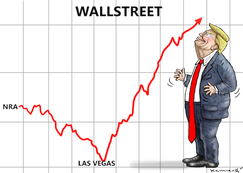 Cartoon: HAPPY TRUMP IN LAS VEGAS (medium) by marian kamensky tagged terror,in,las,vegas,terror,in,las,vegas