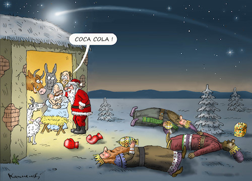 Cartoon: HOLY COCA COLA ! (medium) by marian kamensky tagged obama,trump,präsidentenwahlen,usa,baba,vanga,republikaner,inauguration,demokraten,us,steuer,reform,weihnachten,fire,and,fury,steve,bannon,wikileaks,faschismus,santa,klaus,coca,cola,obama,trump,präsidentenwahlen,usa,baba,vanga,republikaner,inauguration,demokraten,us,steuer,reform,weihnachten,fire,and,fury,steve,bannon,wikileaks,faschismus,santa,klaus,coca,cola