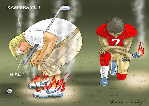 Cartoon: KAEPERNICK AND  NIKE JUST DO IT (medium) by marian kamensky tagged obama,trump,präsidentenwahlen,usa,baba,vanga,republikaner,inauguration,demokraten,wikileaks,faschismus,manafort,john,mccain,cohen,nike,koepenick,obama,trump,präsidentenwahlen,usa,baba,vanga,republikaner,inauguration,demokraten,wikileaks,faschismus,manafort,john,mccain,cohen,nike,koepenick