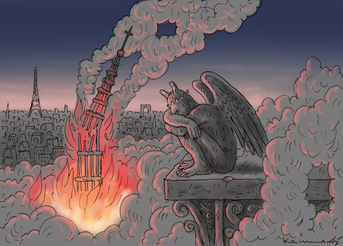 Cartoon: NOTRE DAME (medium) by marian kamensky tagged notre,dame,paris,cathedral,fire,catholics,civilisation,notre,dame,paris,cathedral,fire,catholics,civilisation