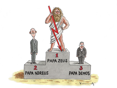 Cartoon: Papademos (medium) by marian kamensky tagged greece,destiny,european,union,financial,crisis,papademos,papamdreus,zeus,griechenland
