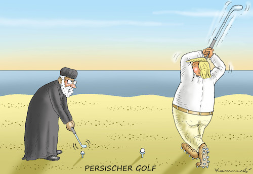 Cartoon: PERSISCHER GOLF (medium) by marian kamensky tagged terror,in,christchurch,new,zealand,islamophobie,racism,intollerance,trump,sri,lanka,iran,terror,in,christchurch,new,zealand,islamophobie,racism,intollerance,trump,sri,lanka,iran