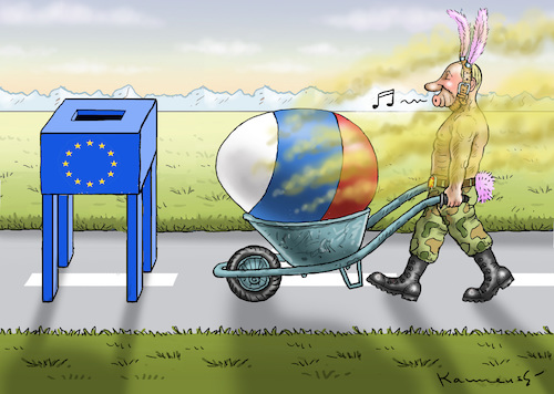 Cartoon: PUTINS DICKES FAULES OSTEREI (medium) by marian kamensky tagged brexit,theresa,may,england,eu,schottland,weicher,wahlen,boris,johnson,nigel,farage,ostern,referendum,brexit,theresa,may,england,eu,schottland,weicher,wahlen,boris,johnson,nigel,farage,ostern,referendum