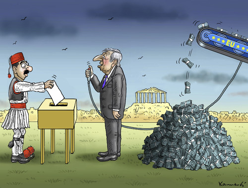 Cartoon: QUALEN IN GRIECHENLAND (medium) by marian kamensky tagged alexis,tsipras,griechenland,rettungsschirm,eu,referendum,qualen,in,griechenlandgriechowestern,alexis,tsipras,griechenland,rettungsschirm,eu,referendum,qualen,in,griechenlandgriechowestern