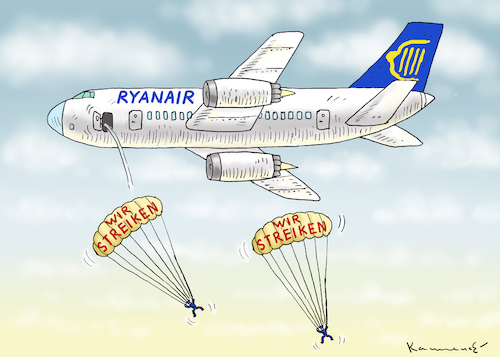 Cartoon: RYANAIR STREIKT (medium) by marian kamensky tagged ryanair,streikt,ryanair,streikt