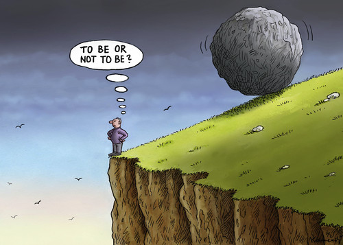 Cartoon: To be or not to be (medium) by marian kamensky tagged shakespeare,to,be,or,not,existenzbedrohung,shakespeare,to,be,or,not,existenzbedrohung