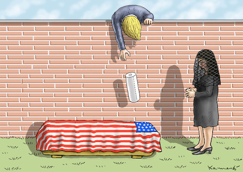 Cartoon: TRAURIGER TRUMP (medium) by marian kamensky tagged obama,trump,präsidentenwahlen,usa,baba,vanga,republikaner,inauguration,demokraten,wikileaks,faschismus,obama,trump,präsidentenwahlen,usa,baba,vanga,republikaner,inauguration,demokraten,wikileaks,faschismus
