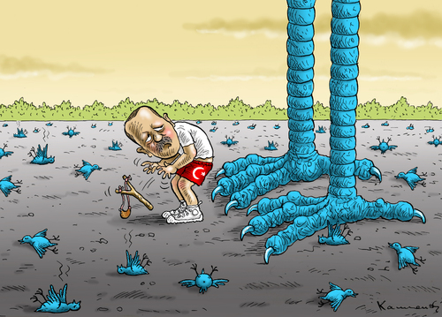 Cartoon: Twitter Erdogan (medium) by marian kamensky tagged erdogan,türkei,korruption,twitterverbot,internet,erdogan,türkei,korruption,twitterverbot,internet
