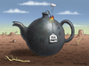 Cartoon: Teebombe (small) by marian kamensky tagged usa,haushaltsdefizit,tea,party,obama,care,republikaner,staatspleite