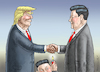 Cartoon: TRUMP TRIFFT CHINESEN (small) by marian kamensky tagged trump,trifft,bald,xi,jinping,florida,china,usa