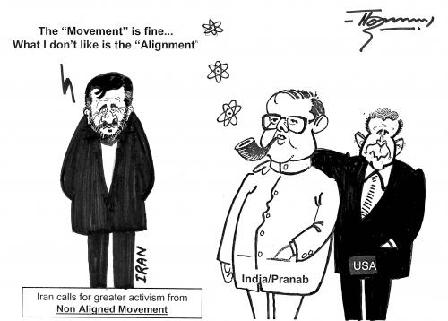 Cartoon: Iran and  Non-Aligned Movement (medium) by Thommy tagged iran,nam,india,usa
