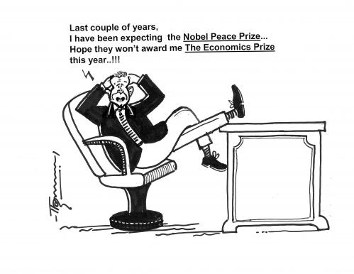 Cartoon: Nobel Prize for Econimics (medium) by Thommy tagged nobel,prize,peace,economics