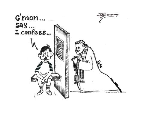 Cartoon: The Ultimate Confession (medium) by Thommy tagged pope,church,child,abuse