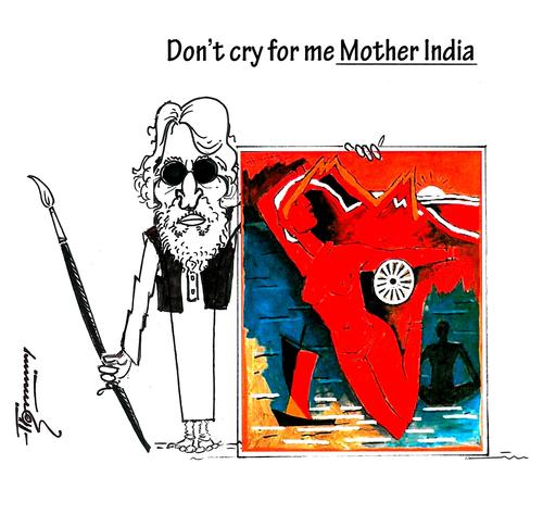 Cartoon: Tribute to M.F. Husain (medium) by Thommy tagged husain,mf