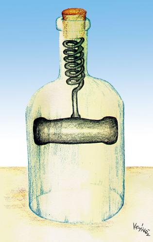 Cartoon: bottle2 (medium) by Krzyskow tagged cartoon,nature,character,comic,designfrau,girl,illustration,line,love,man,mann,music,politics,sport,tiere