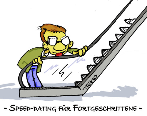 Cartoon: Speed-Dating (medium) by Tiemo tagged versadates,liebe,küssen,rolltreppe
