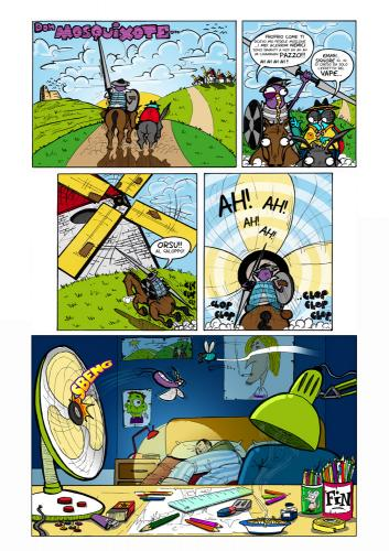 Cartoon: Mosquixote (medium) by buddybradley tagged mosquito,quixote,illustration,comic,colour,fly,me,room,drunk,addicted,zanardi,pazienza,horse,laugh,joke
